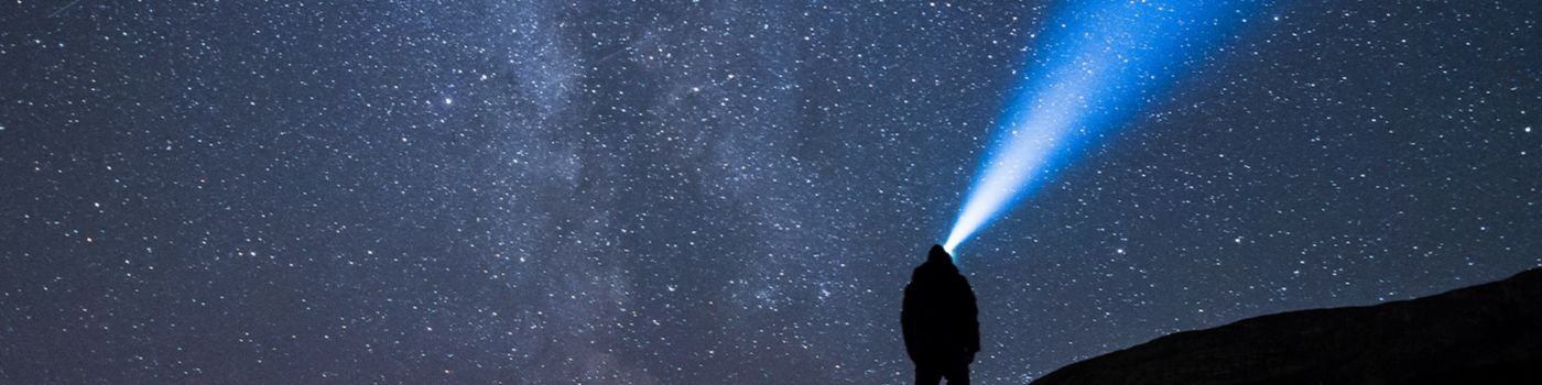 Man with torch looking at night sky
