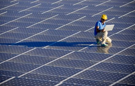 Man working on Solar panels