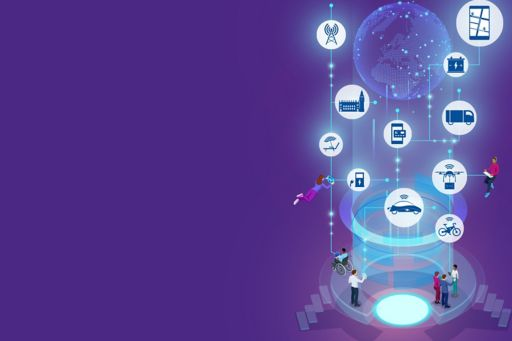 Mobility 2030: Navigating the future of mobility - illustration of communication and mobility icons