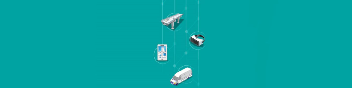 Mega trends illustration of vertically aligned car, highway, ambulance, people discussing against turquoise background