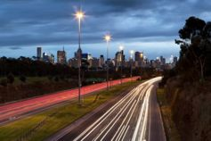 Melbourne skyline at dusk viewed from the Studley Park overpass