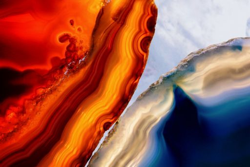 Close up of red and blue mineral agate stones