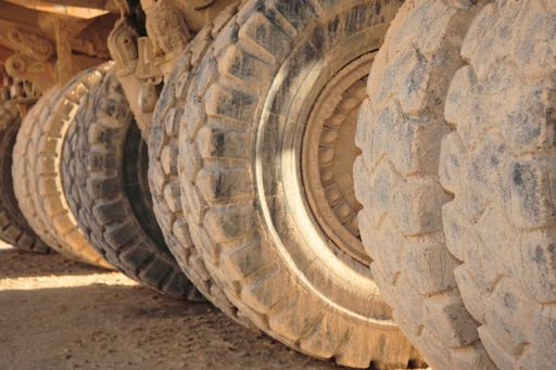 Close-up of tyres on a mining truck