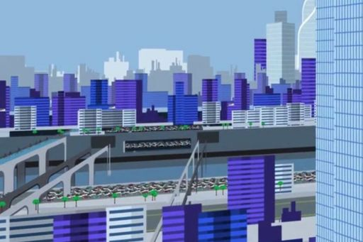 Vision for a future mobility ecosystem - illustration of a future city