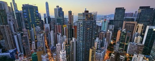 Modern office towers and apartment buildings panoramic view