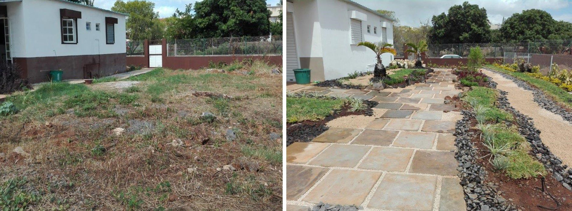 Before and After photos of the Japanese Garden