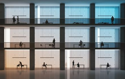 Multiple office cubicles