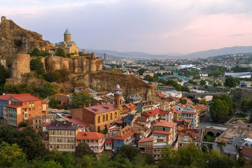 Narikala castle on the slope of the mountain in Tbilisi, Georgia