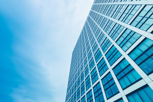Glass buildings with blue background