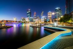 Nighttime photo of Perth CBD