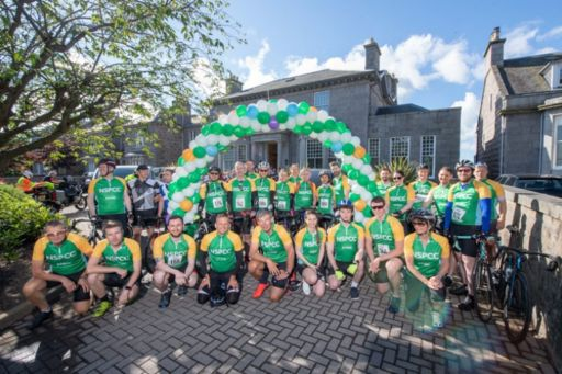 The team from the Aberdeen leg of KPMG's 2019 Wheelie Big Cycle