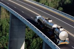 Oil truck on bridge