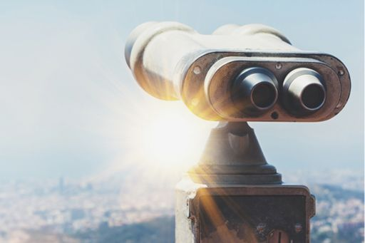 old-metal-touristic-telescope-overlooking-the-mountain-banner