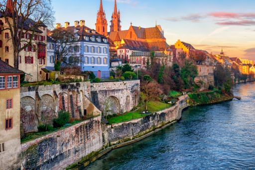 old-town of basel with munster cathedral switzerland