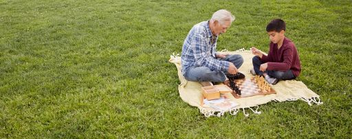 Two people sitting on grass