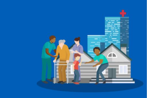 Old man, Nurse and other people in front of a hospital building: Illustration