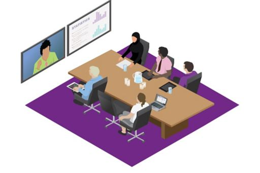 People attending video conference meeting
