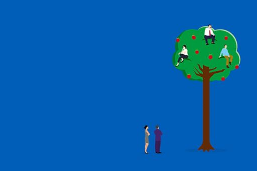Illustration of people in an apple tree