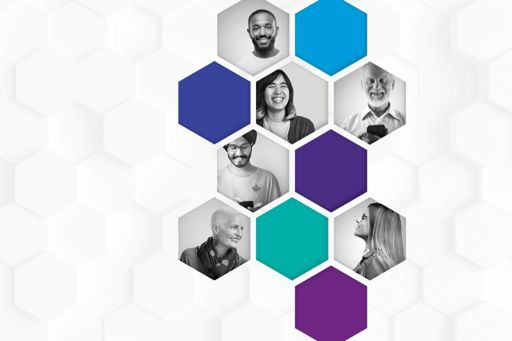 Hexagons with images of people