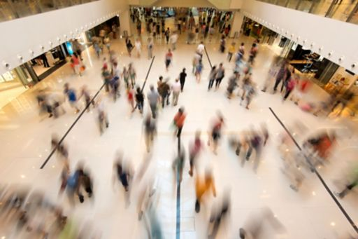 Consumers in a retail shopping centre