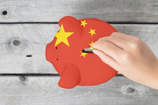 piggy money bank with china flag