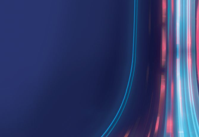 Pink & blue curved lines on blue background