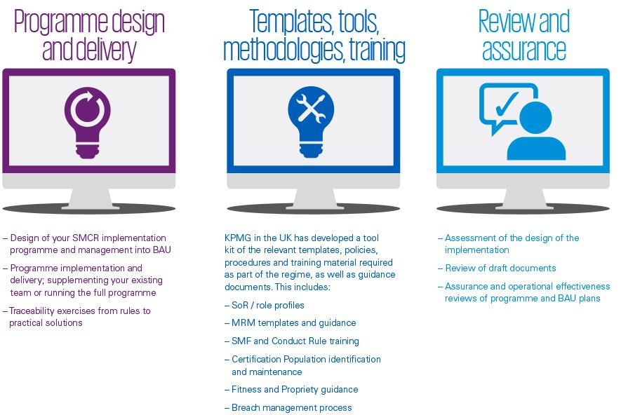 KPMG professionals can help provide support to firms to ensure they are prepared for the SMCR.