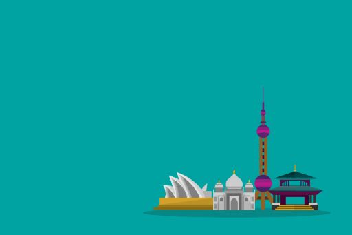 4 Asian monuments against cyan background - Illustration