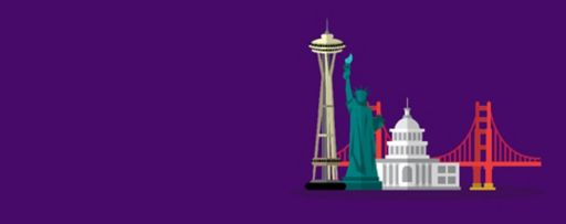 4 US monuments against purple background - Illustration