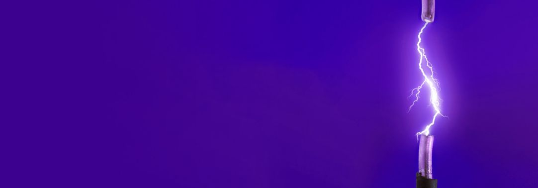 Purple electric chords against blue background