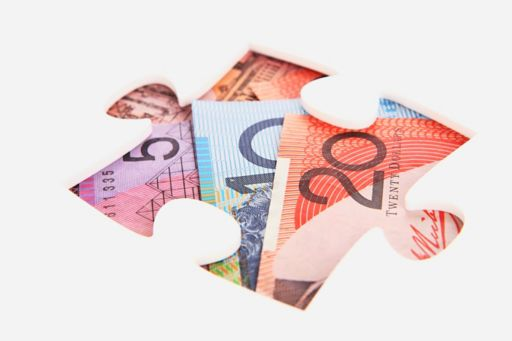 Puzzle piece with Australian currency