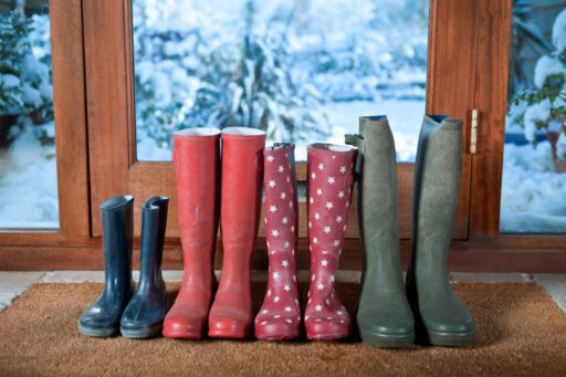 rainboots lined up