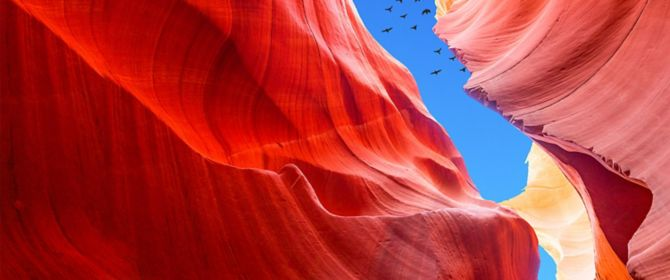 Red mountains and birds flying in blue sky