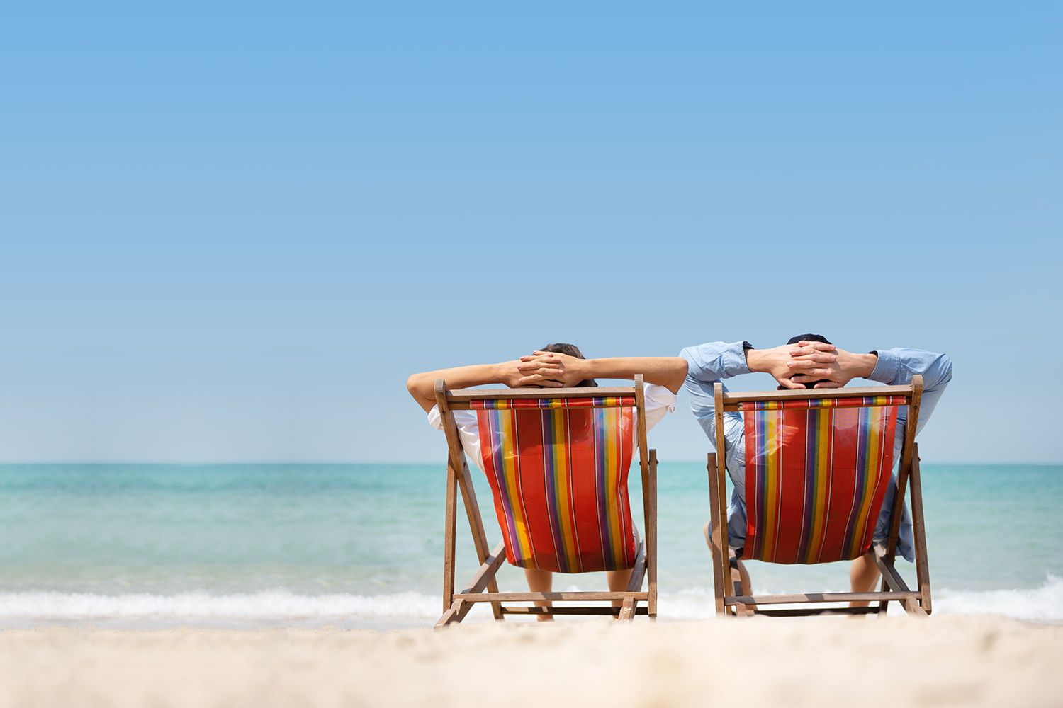 relaxing on beach chairs