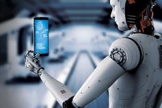 Robot looking at mobile