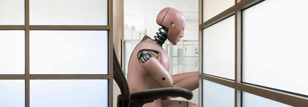 robot working at desk