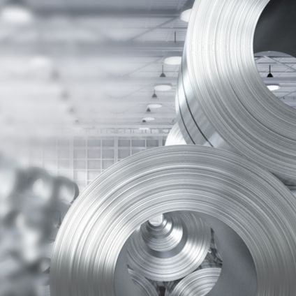 Rolled steel sheets in factory