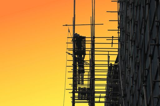 Scaffolding at sunset
