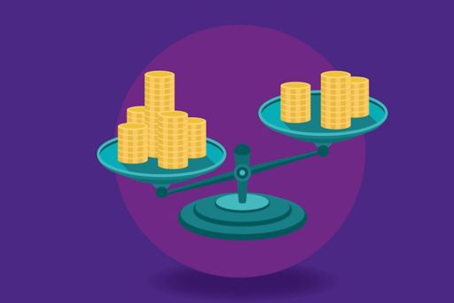 Illustration of gold coins balancing on a set of scales