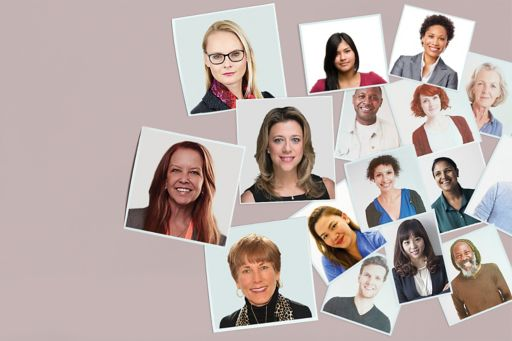Snapshots of women against pink background