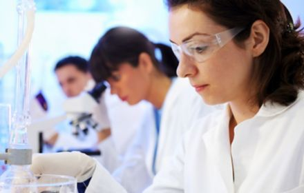 Scientists working in chemical lab