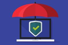 Illustration of a secure laptop underneath a red umbrella