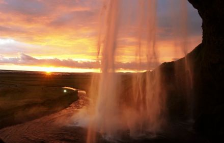 Seljalandsfoss waterfall at sunset, Iceland
