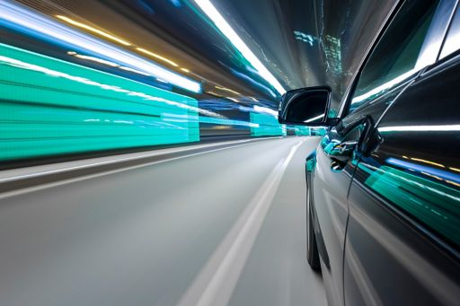 car driving on a highway
