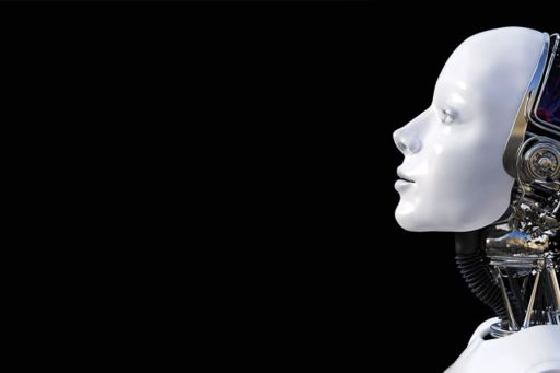 3D rendering of the head of a female robot