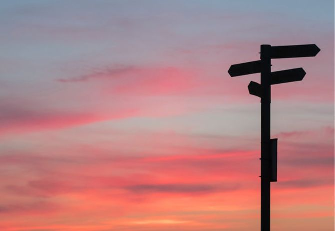 Sign post at sunset