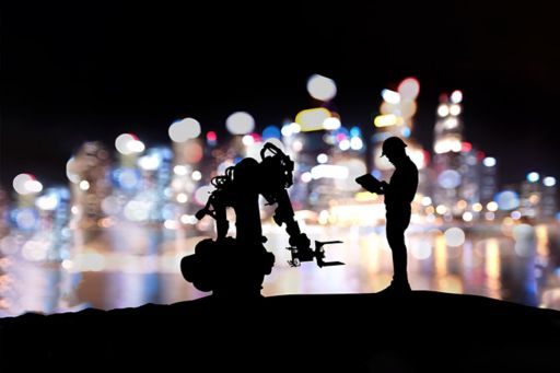 Man and robot in dark