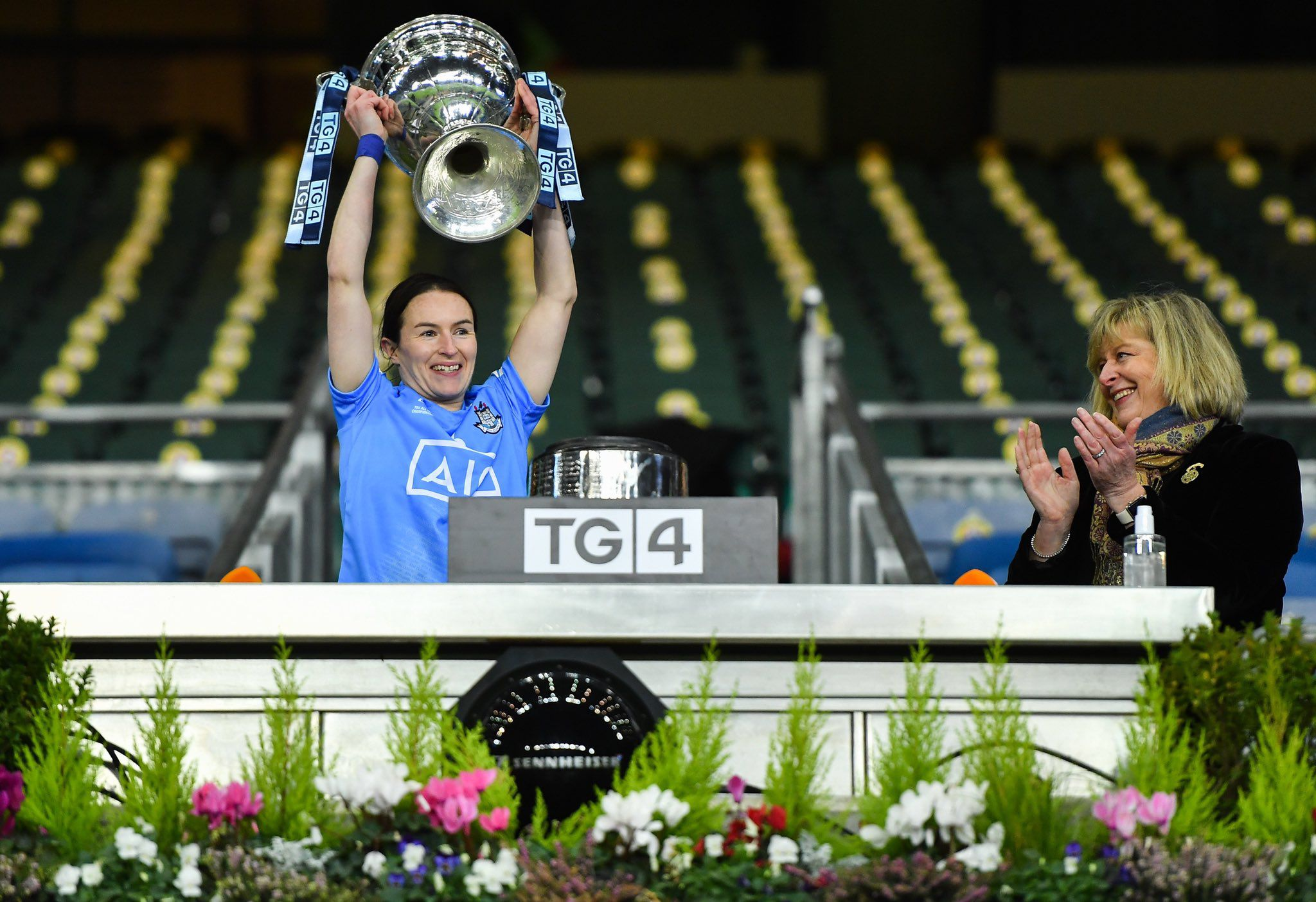 Sinéad Aherne lifting the Brendan Martin cup 2020