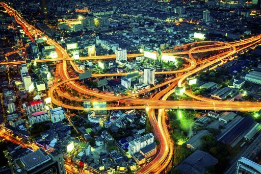 Singapore crisscrossing highway aerial view