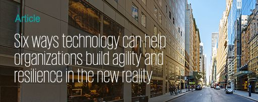Six ways technology can help organizations - text overlay on street view background